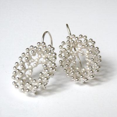 Ohrhänge oval, zwei Schichten, Silber
