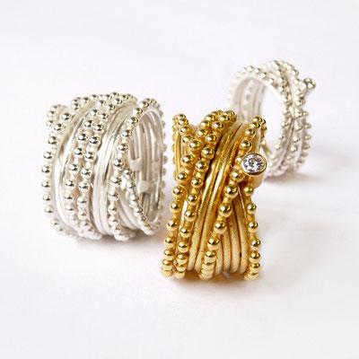 Perlreihenringe, Silber und Silber goldplattiert, Brillanten
