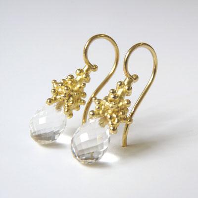 Ohrhänger Gold 750, Bergkristallpampeln