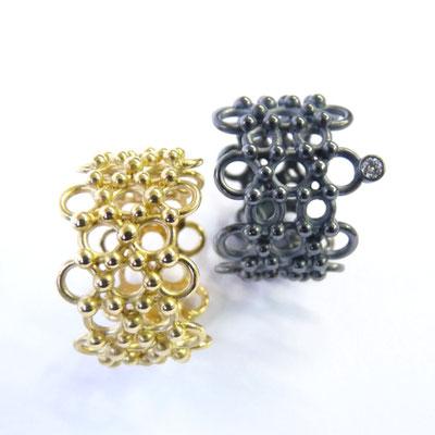 Ringe, Silber geschwärzt, Brillant, Gold 750