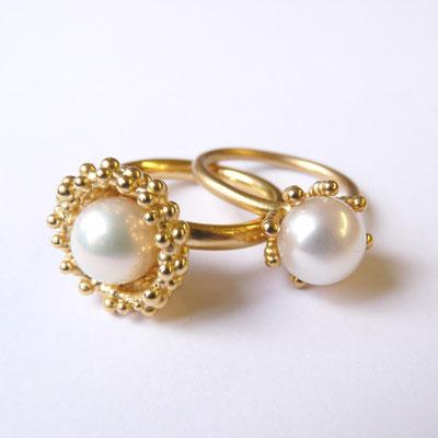 """Ring """"Nest"""" Silber goldplattiert, Süßwasserperle; Krappenring Gold 750, Süßwasserperle"""