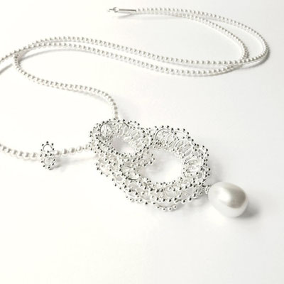 Anhänger groß, Tropfenperle, Perlenkette