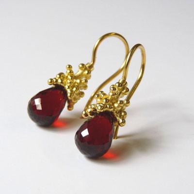 Ohrhänger Gold 750, Granatpampeln