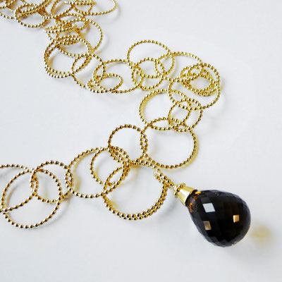 Perldrahtkette Silber goldplattiert, Rauchquarzpampel