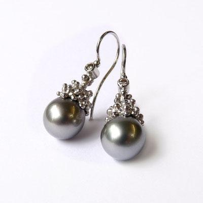 Ohrhänger Silber rhodiniert, Tahitiperlen, graue Brillanten