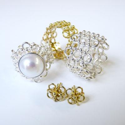 Ringe Silber, Süßwasserbouton, Gold 750, Ohrstecker Gold 750