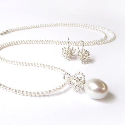 Anhänger Krönchen, Tropfenperle, Perlenkette, Ohrhänger Silber