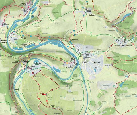 Wander- und Radkarte Volkach am Main