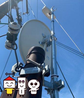 自営柱(スッキリポール)に地デジコンパクトアンテナとBSCS4K8Kアンテナ工事(奈良県奈良市)