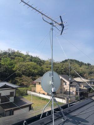 京都府左京区 BSCS4K8Kアンテナ追加取付設置工事④