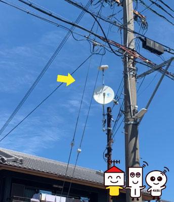 自営柱(スッキリポール)に地デジコンパクトアンテナとBSCS4K8Kアンテナ工事(奈良県奈良市)②