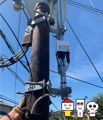 自営柱(スッキリポール)に地デジコンパクトアンテナとBSCS4K8Kアンテナ工事(奈良県奈良市)③