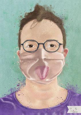 Corona Porträt | Zunge blecken, das tut gut - ich pfeif auf deinen Aluhut!