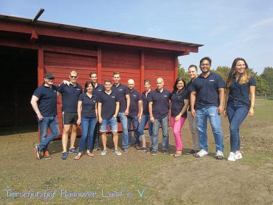 Die fleißigen Helfer der Firma Clarion (Varta) bei der Aktion Offenstall-Renovierung.
