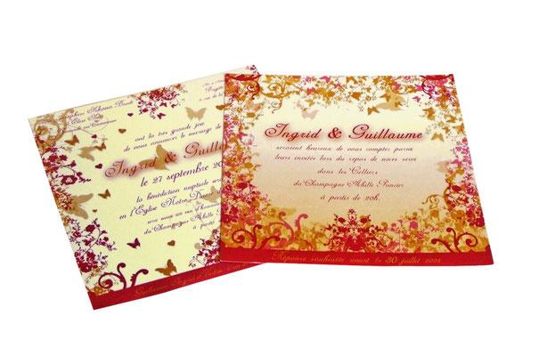 Faire-part de mariage (invitation église et vin d'honneur + invitation repas)