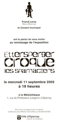 Carton d'invitation de l'exposition de Christian Ettersperger - verso