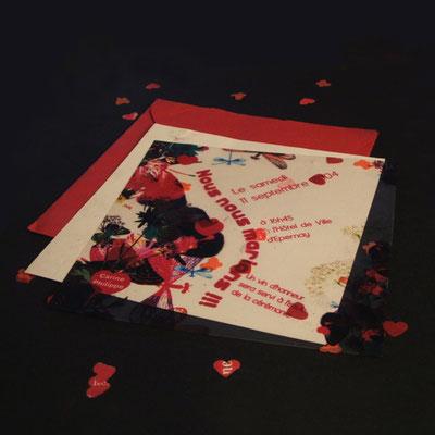 Faire-part de mariage avec petits confettis dans l'enveloppe