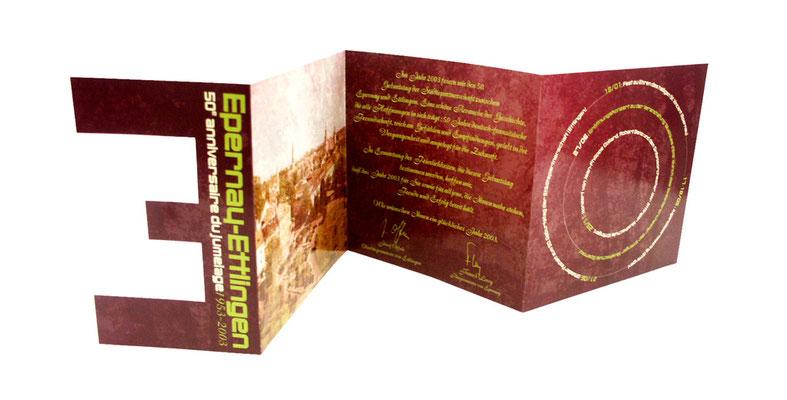 Carte de voeux sur le thème de l'anniversaire du jumelage entre Epernay et Ettlingen (Allemagne) - Verso pour les Français