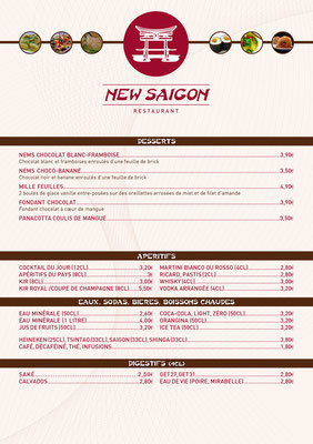 Menu Restaurant Asiatique New Saïgon