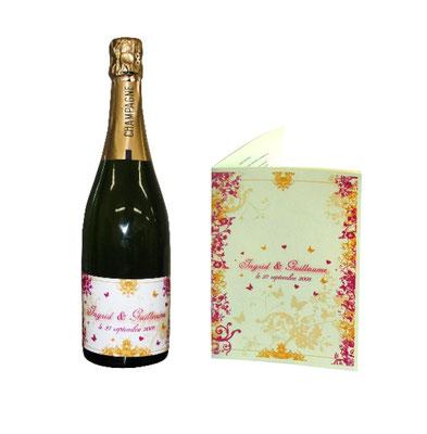 Etiquette bouteille de champagne - Livret messe de mariage