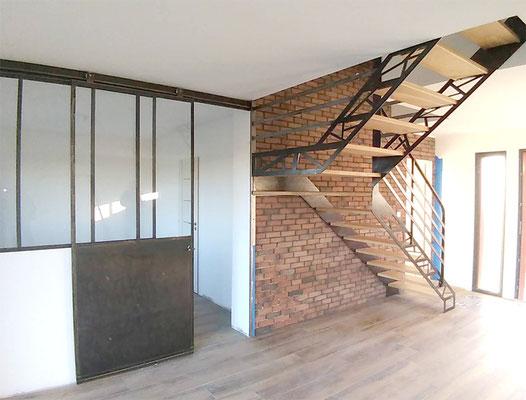 Escalier acier bois design