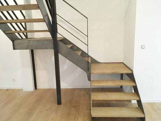 Escalier metal bois avec paliers