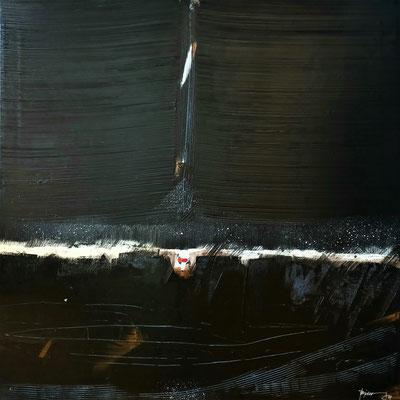 """""""lumières dans la nuit"""" 90 x 90, acrylique et brou de noix"""