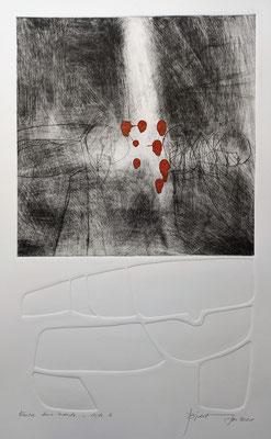 Entre deux mondes, pointe sèche sur plexiglas et gaufrage, 35x50