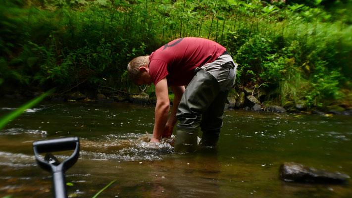 Mann mit rotem Shirt in Wasser, bückt sich