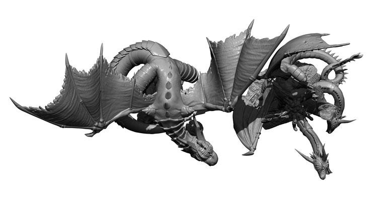 3d modelling - SHIELDWOLF - Wyvern & dragon