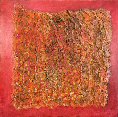 Struktur in rot   ...   Strukturmaterial und Acryl auf Holzkasten   ...   40 x 40 cm