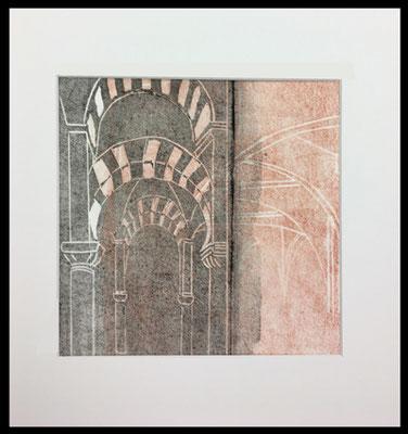 Cordoba Mezquita   ...   Linoldruck im Rahmen   ...   30 x 30 cm   ...   mehr dazu in der Rubrik Strukturen