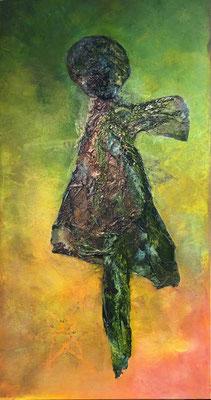 Sie kommt, sie geht  II ...   Öl, Acryl und Tusche auf Seidenpapier und Leinwand   ...   70 x 140 cm