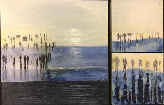 Menschen am Meer   ...   Acryl, Pigment und Wachs auf Holzkästen   ... 1 x 40 x 40, 2 x 20 x 20