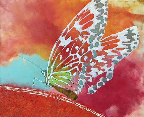Schmetterling   ...   Acryl und Öl auf Leinwand   ...   100 x 80 cm