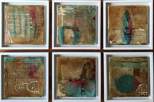 Wachsstrukturen   ...  Wachs und Acryl auf Leinwand   ...   6 x 20 x 20 cm (im Rahmen 25 x 25 cm)