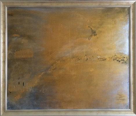 Nebel in Gold   ...   Acryl auf Leinwand mit Goldrahmen   ...   120 x 100 cm