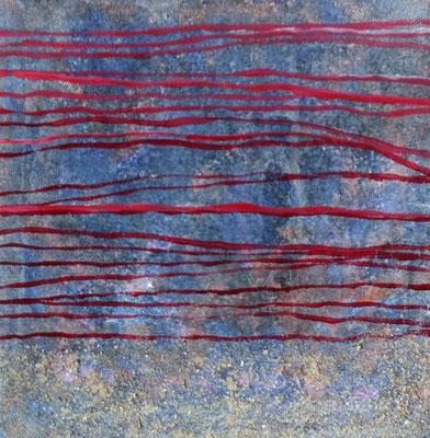 Spuren im Sand - blau   ...   Acryl, Sand, Mischtechnik   ...   25 x 25 cm