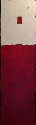 Rot, weiß Fläche   ...   Acryl und Steinmehl auf Leinwand   ...   50 x 150 cm