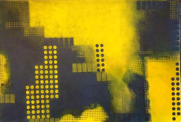 Grafik-gelb-grün   ... Acryl auf Leinwand   ... 120 x 100 cm
