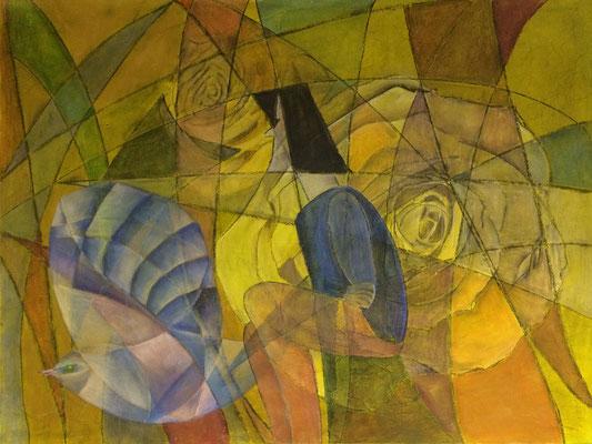 Frau mit Vogel   ...   Mischtechnik auf Leinwand   ...   120 x 80 cm