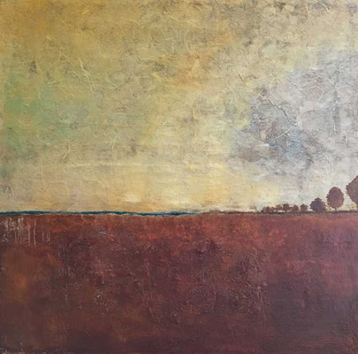 Terracotta-Landschaft   ...   Acryl, Steinmehle, Papier auf Leinwand   ...   80 x 80 cm