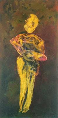 Sie kommt, sie geht I ...   Öl, Acryl und Tusche auf Seidenpapier und Leinwand   ...   70 x 140 cm