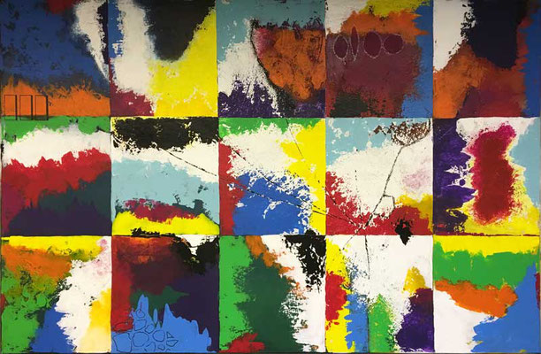 Colored Squares   ...   Acryl, Wachs, Tusche auf Leinwand   ...   150 x 100 cm