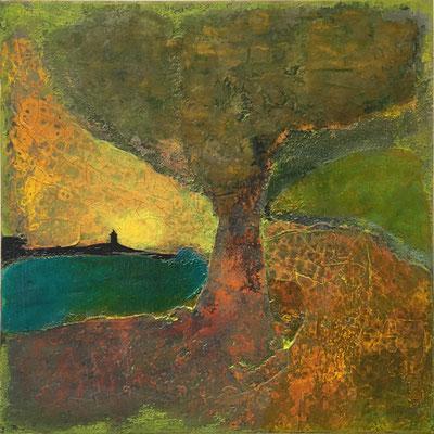 Baum im Mondschein   ...   Acryl, Steinmehle und Lack auf Leinwand   ...   60 x 60 cm