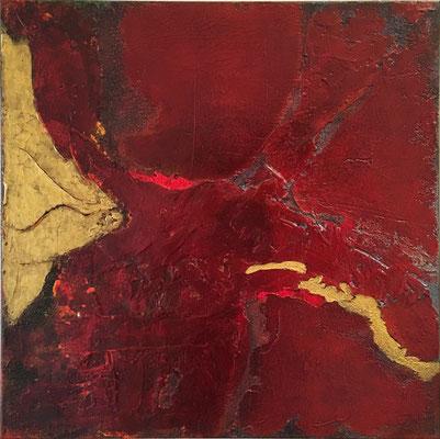 Goldener Fluss   ...   Acryl, Steinmehle und Lack auf Leinwand   ...   60 x 60 cm