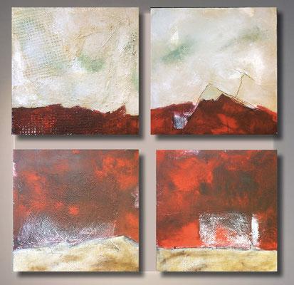 Polyptychon in rot   ...   Acryl auf Leinwand   ... 4 x 50 x 50 cm