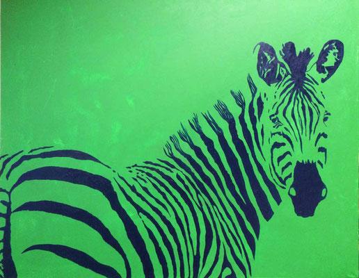 Zebra grün   ...   Acryl auf Leinwand   ...   80 x 100 cm