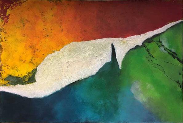 Im Wandel   ...   Öl, Acryl und Tusche auf Papierstruktur und Leinwand   ...   150 x 100 cm
