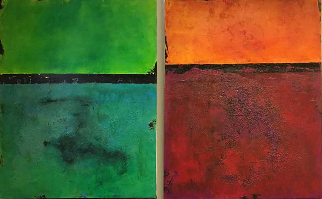 Horizonte  I und II  ...   Acryl und Marmormehl auf Leinwand   ...   80 x 100 cm